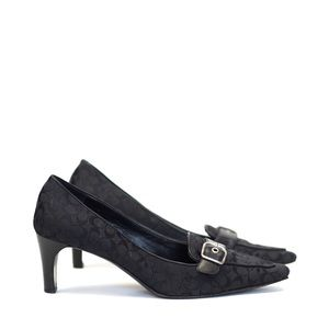 Coach | Jayne black logo buckle pointy toe heel